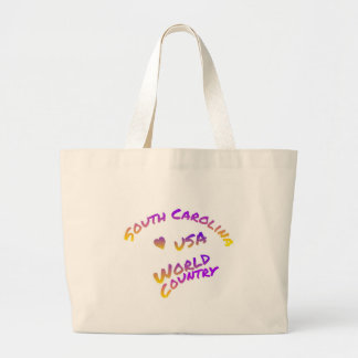South Carolina usa world country, colorful text ar Large Tote Bag