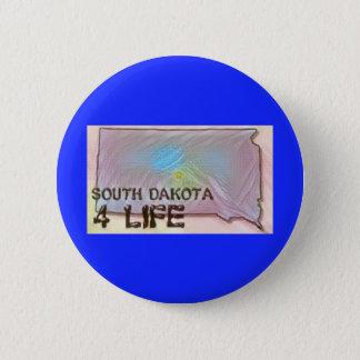 """South Dakota 4 Life"" State Map Pride Design 2 Inch Round Button"