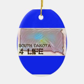 """South Dakota 4 Life"" State Map Pride Design Ceramic Ornament"
