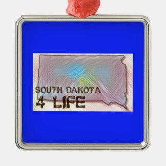 """""""South Dakota 4 Life"""" State Map Pride Design Metal Ornament"""