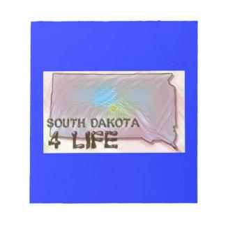 """South Dakota 4 Life"" State Map Pride Design Notepad"