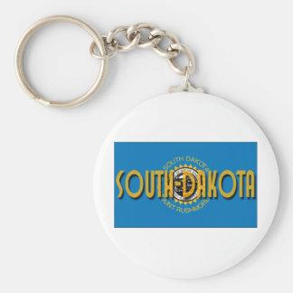 South Dakota Basic Round Button Keychain