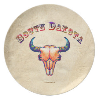 South Dakota Buffalo Skull Tan Leather Background Party Plate