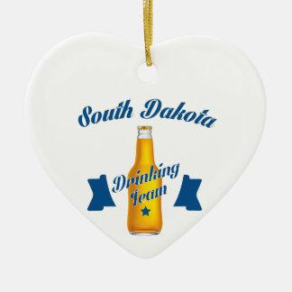 South Dakota Drinking team Ceramic Heart Ornament
