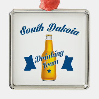 South Dakota Drinking team Silver-Colored Square Ornament