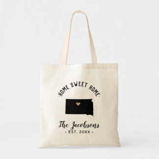 South Dakota Home Sweet Home Family Monogram Tote Bag