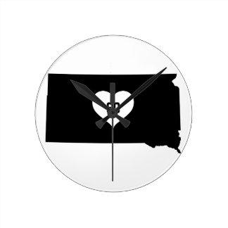 South Dakota Love Round Clock