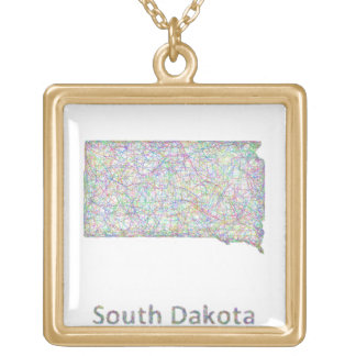 South Dakota map Gold Plated Necklace