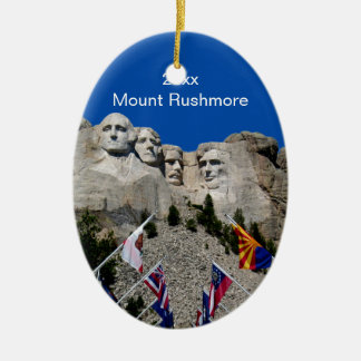 South Dakota Mount Rushmore Ceramic Oval Ornament
