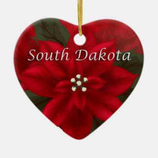 South Dakota Poinsettia Heart Ornament