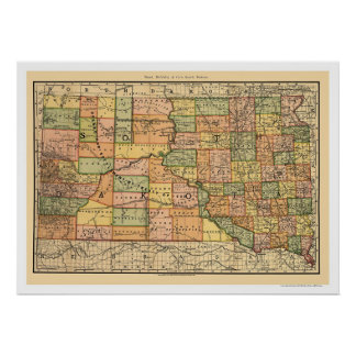 South Dakota Railroad Map 1892 Poster