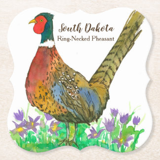 South Dakota Ring Necked Pheasant Purple Flowers Paper Coaster