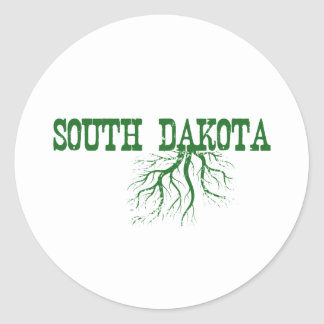 South Dakota Roots Green Word Art Classic Round Sticker