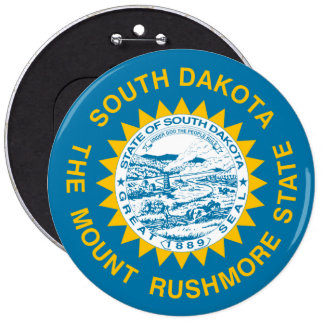 South Dakota State Flag 6 Inch Round Button