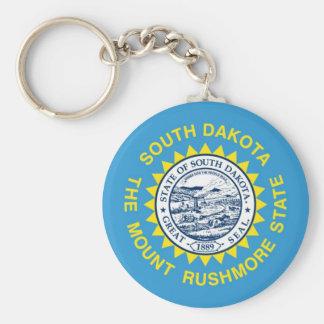 South Dakota State Flag Basic Round Button Keychain