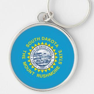 South Dakota State Flag Design Silver-Colored Round Keychain