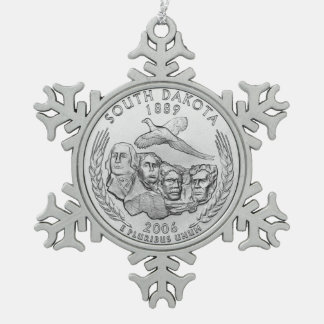 South Dakota State Quarter Pewter Snowflake Ornament