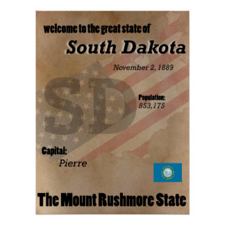 South Dakota The Mount Rushmore State Classic Poster