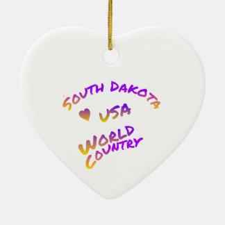 South Dakota usa world country,  colorful text art Ceramic Ornament