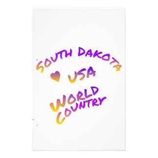 South Dakota usa world country,  colorful text art Customized Stationery