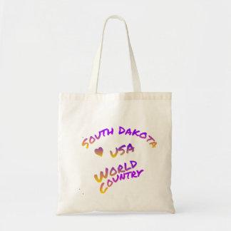 South Dakota usa world country,  colorful text art Tote Bag