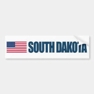 South Dakota with US Flag Bumper Sticker