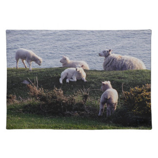 South Devon Sheep And Lambs On Remote Coastline Place Mat