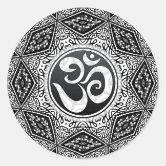 South Eastern Sun Black+White Aum Mandala Sticker