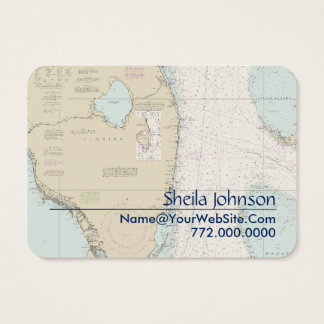 South Florida Nautical Chart Clean Fresh Blue Tan Business Card