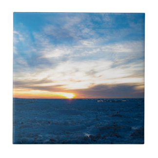 South Haven Lighthouse Frozen Lake Michigan Ceramic Tiles