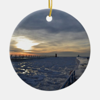 South Haven Lighthouse Sunset Ceramic Ornament