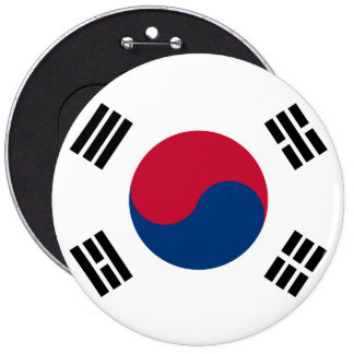 South Korea Flag 6 Inch Round Button