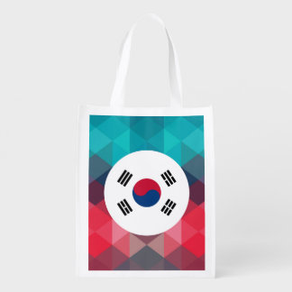 South Korea flag circle on modern bokeh Reusable Grocery Bag