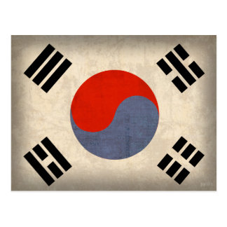 South Korea Flag Distressed Postcards