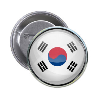 South Korea Flag Glass Ball 2 Inch Round Button
