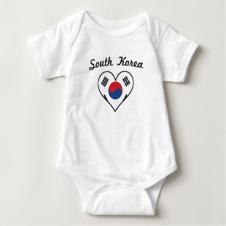 South Korea Flag Heart Baby Bodysuit