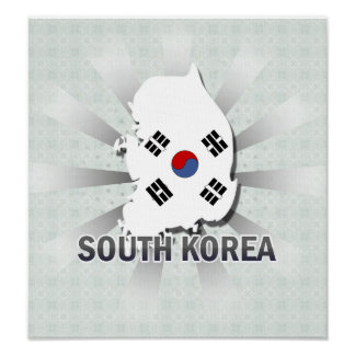 South Korea Flag Map 2.0 Poster