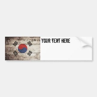 South Korea Flag on Old Wood Grain Bumper Sticker