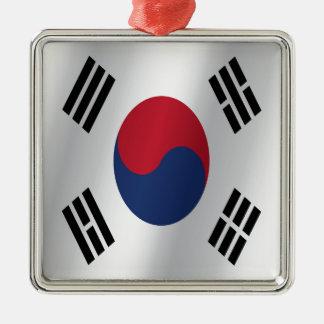South Korea flag Silver-Colored Square Ornament