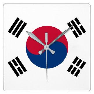 South Korea Flag Square Wall Clock