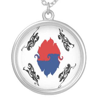 South Korea Gnarly Flag Round Pendant Necklace