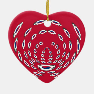 South Korea Polka Dot flag Ceramic Heart Ornament