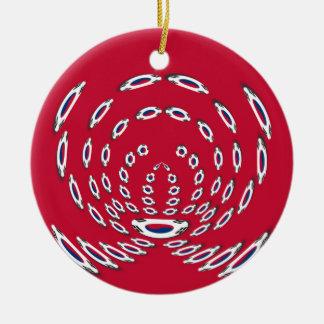 South Korea Polka Dot flag Round Ceramic Ornament