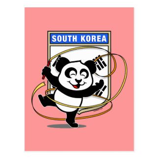 South Korea Rhythmic Gymnastics Panda Postcard