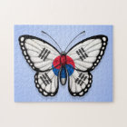 South Korean Butterfly Flag on Blue Jigsaw Puzzle