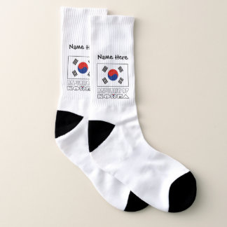 South Korean Flag and Republic of Korea with Name Socks