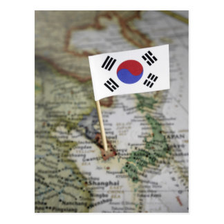 South Korean flag in map Postcard