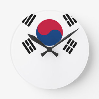 South Korean Flag Round Clock