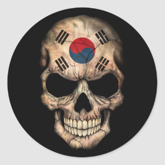 South Korean Flag Skull on Black Classic Round Sticker