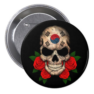South Korean Flag Skull with Red Roses 3 Inch Round Button